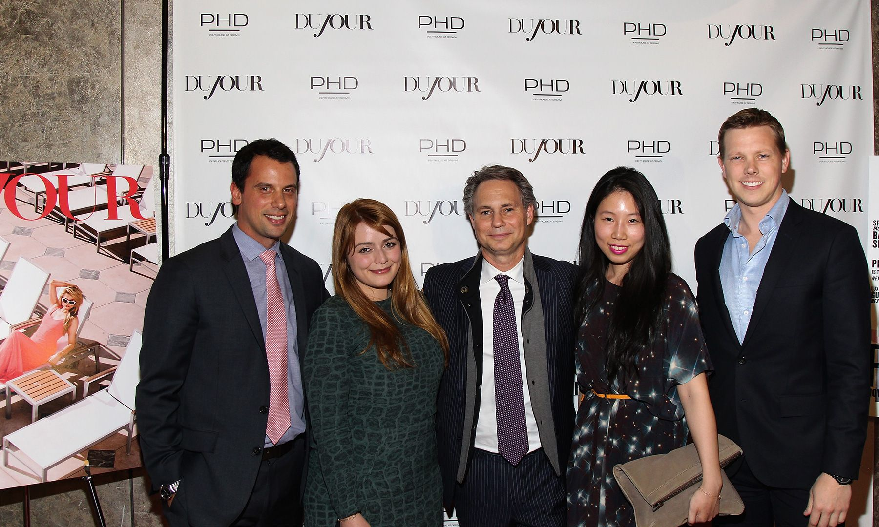 Guests celebrated the DuJour April cover star with a soirée hosted by Jason Binn at the PH-D Rooftop and Lounge at Dream Downtown in New York City. Pictured: Eric Thomassian, Ally Matha, Jason Binn, Irene Peng, Severin Carlson