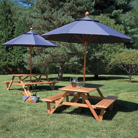 teak wood picnic table with umbrella hole larchmont picnic table country casual - Patio Table With Umbrella