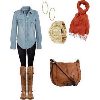 Denim w/ red scarf, brown boots