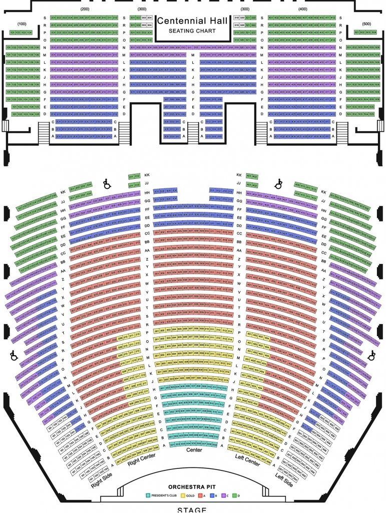Centennial Hall Seating Chart