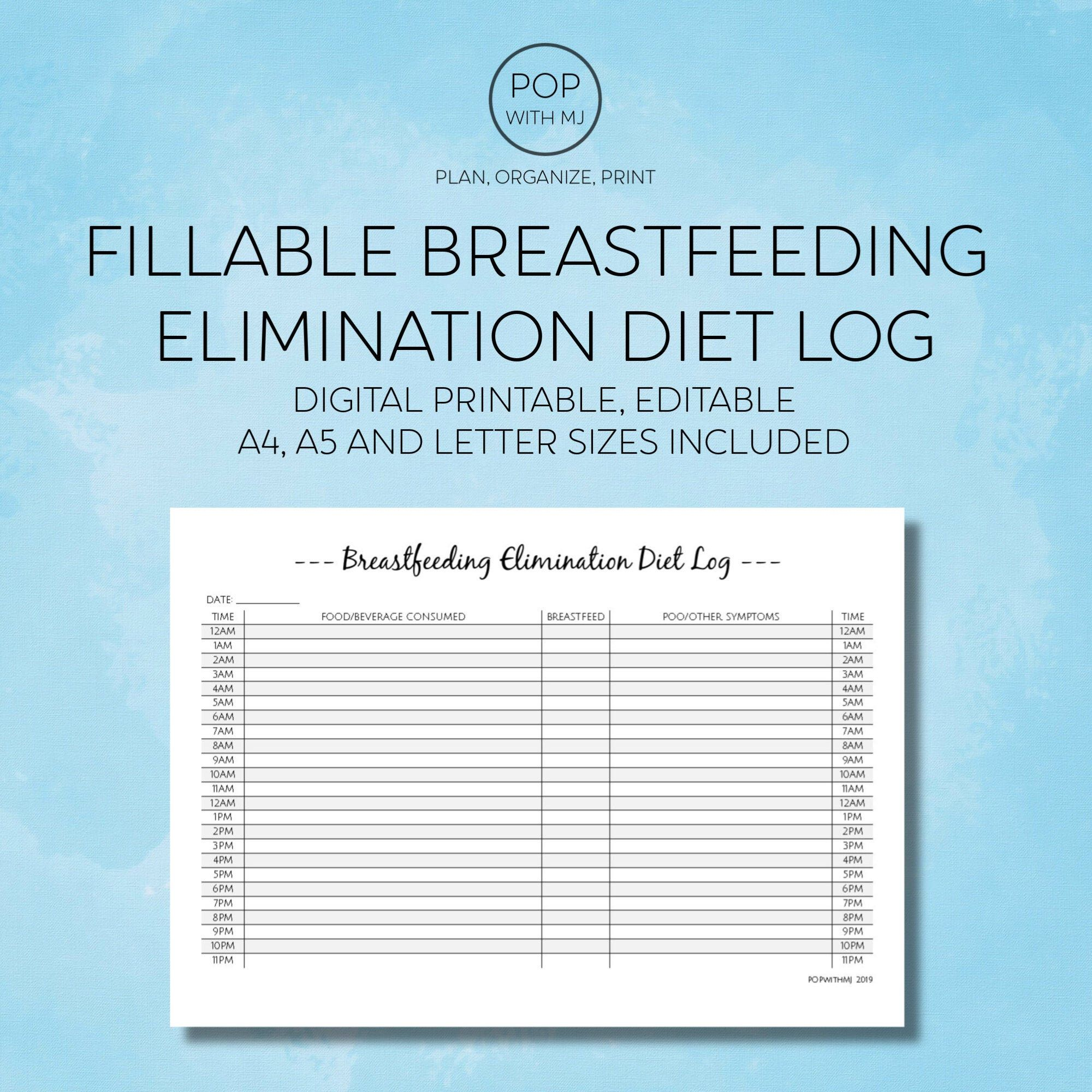 Fillable Breastfeeding Elimination Diet Log Editable Etsy Creating Planners Breastfeeding Lettering