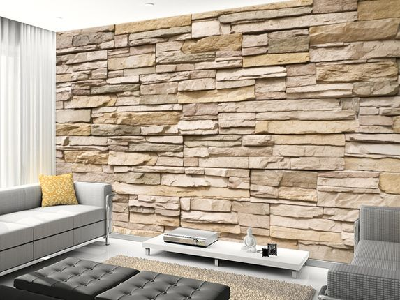 Stacked Stone Wall Wall Mural | Stacked stone walls, Stone ...