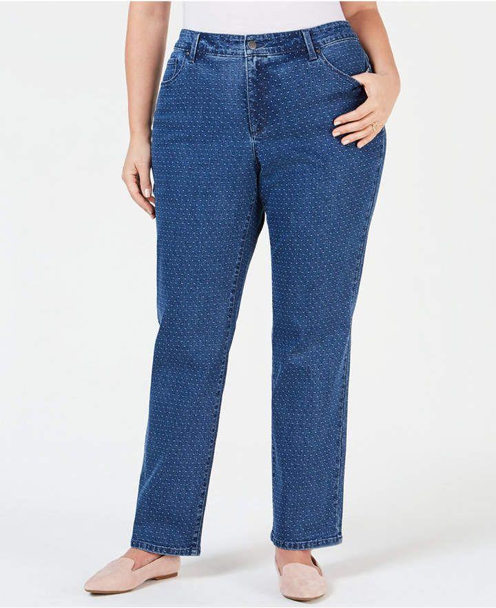 2ecff3deed0 Charter Club Plus Size Dot-Print Tummy-Control Jeans