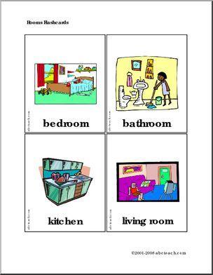 Flashcards: Places (set 4)   Bedroom, Bathroom, Kitchen, Living Room Part 48