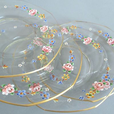 "12 Vintage 9"" Glass Dinner Plates HP Enamel Pink Roses Flower Garlands Gilt Trim 