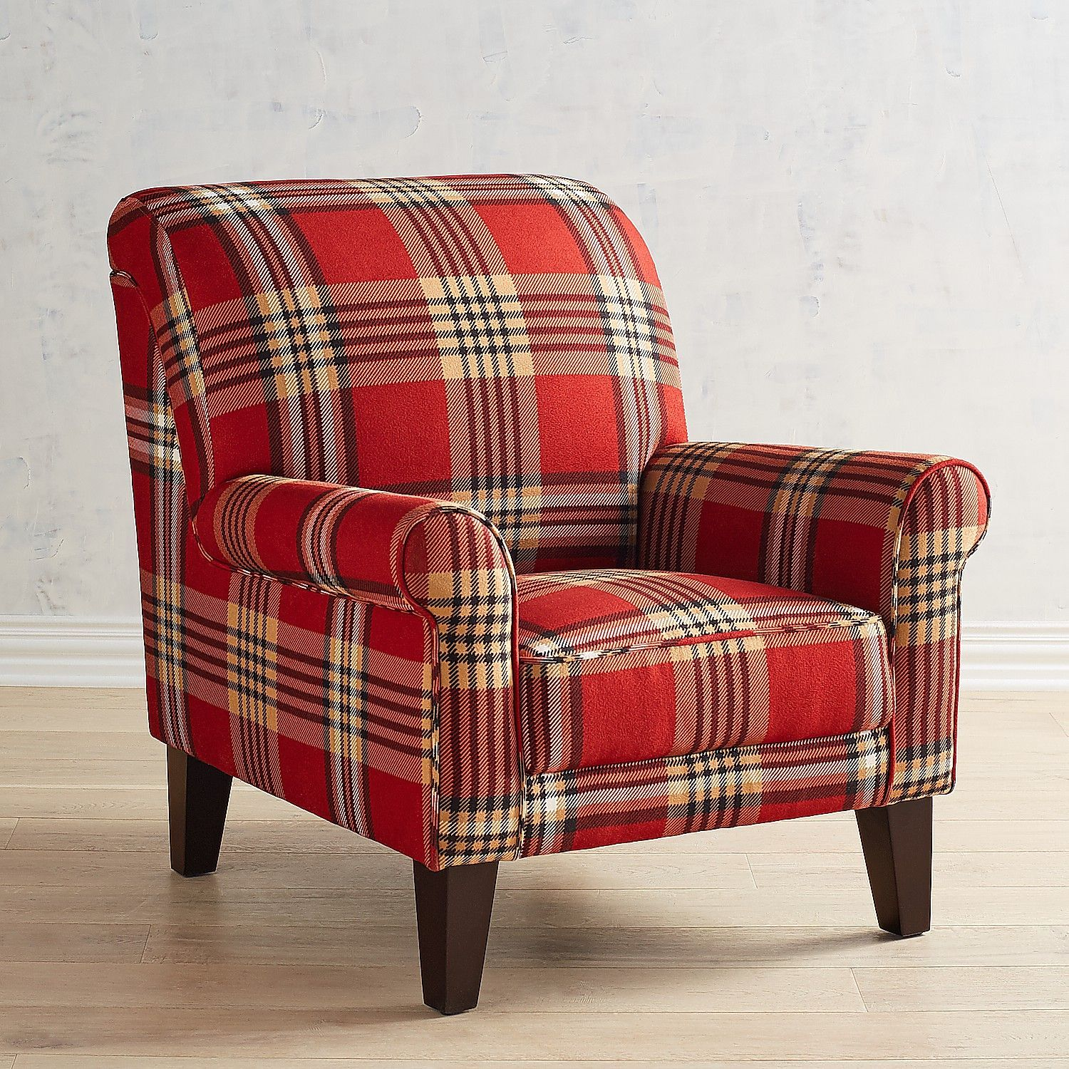Lyndee Red Plaid Armchair French Country Living Room Home Decor Furniture #plaid #chairs #living #room