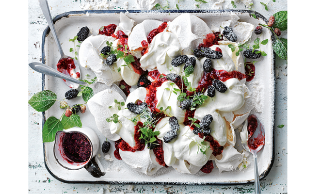 smashed pavlova with mulberries