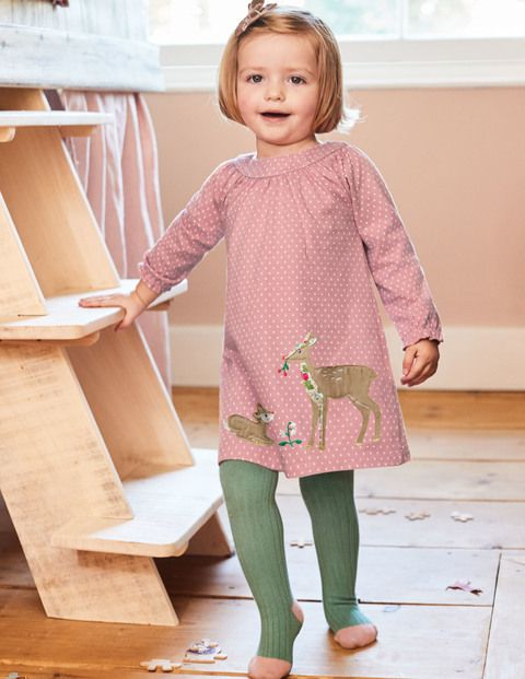 0afb4d5a23fc Baby Boden Winter Animals Appliqué Dress Vintage Pink Spot Deer, Size 12-18m
