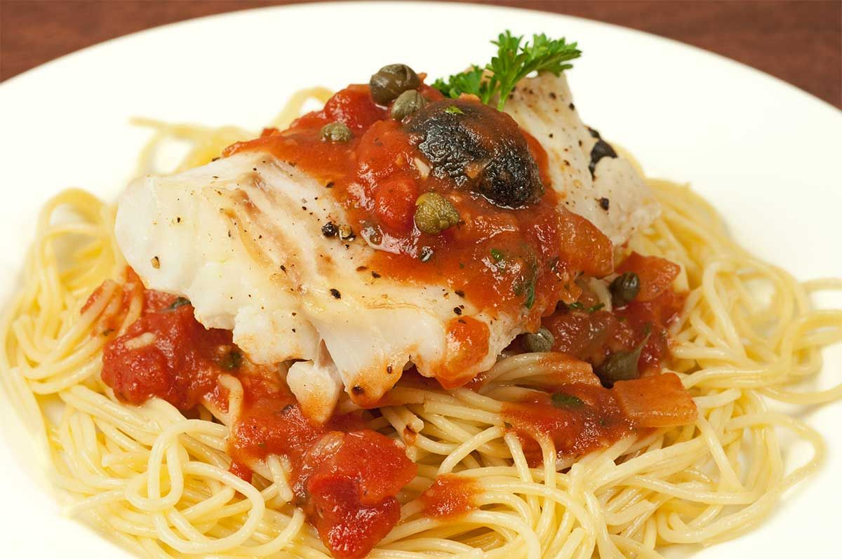 Fish Puttanesca   Recipe   Sauteed spinach, Seafood ...