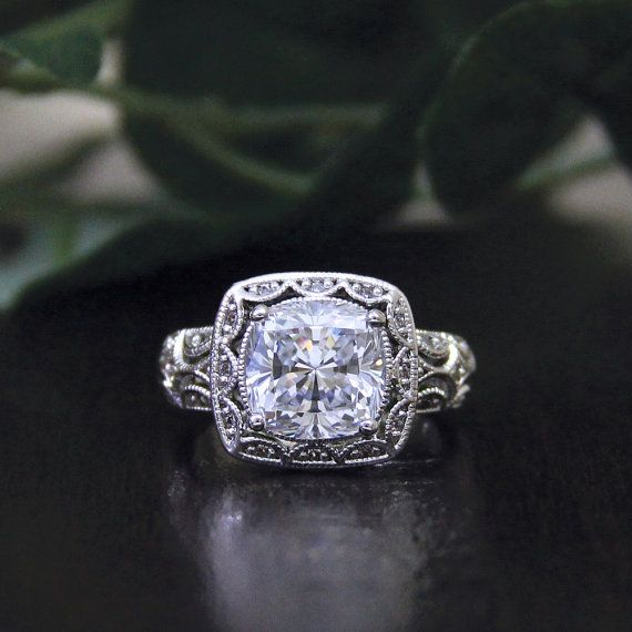 3.30 ct. Center Art Deco Engagement Ring-Cushion Cut by Besbelle