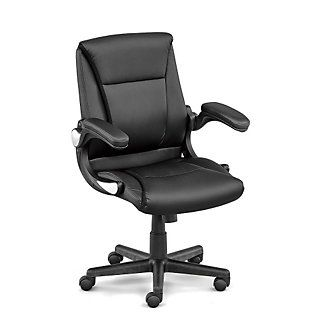Faux Leather Petite Executive Chair With Flip Arms Petite Office