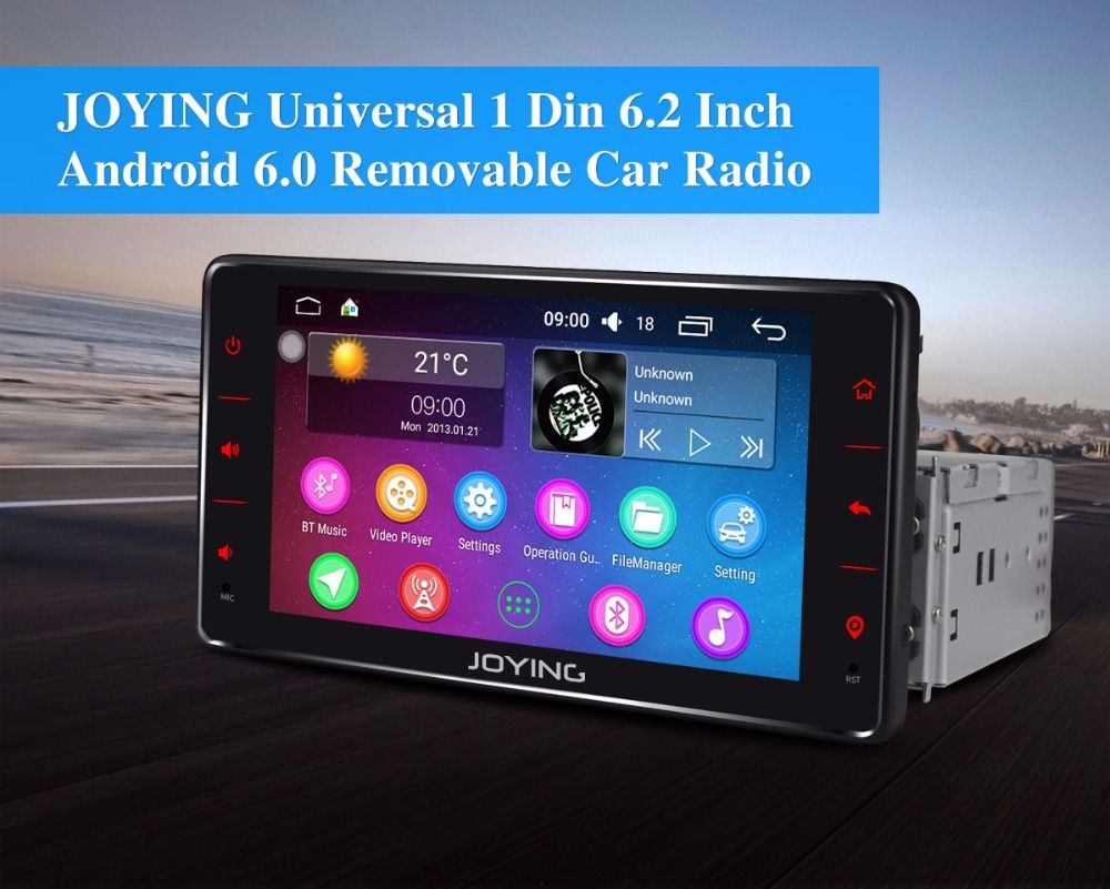 JOYING universal 1din android 6 0 car radio head unit 6 2 inch touch