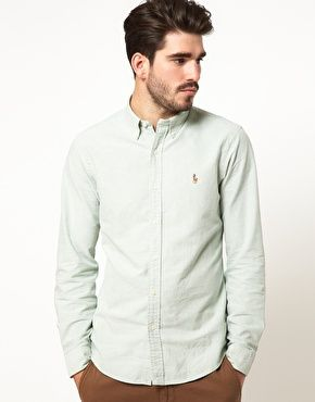 91ef0e1f7556dc 'Polo Ralph Lauren' Light Green Shirt in Slim Fit Oxford Cotton. '