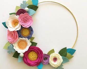 Photo of MODERN WREATH // Felt Flower Wreath // Gold Hoop Wreath // Wall Art // Nursery Decor // Pink Wreath // Pink + Coral + Linen + Yellow
