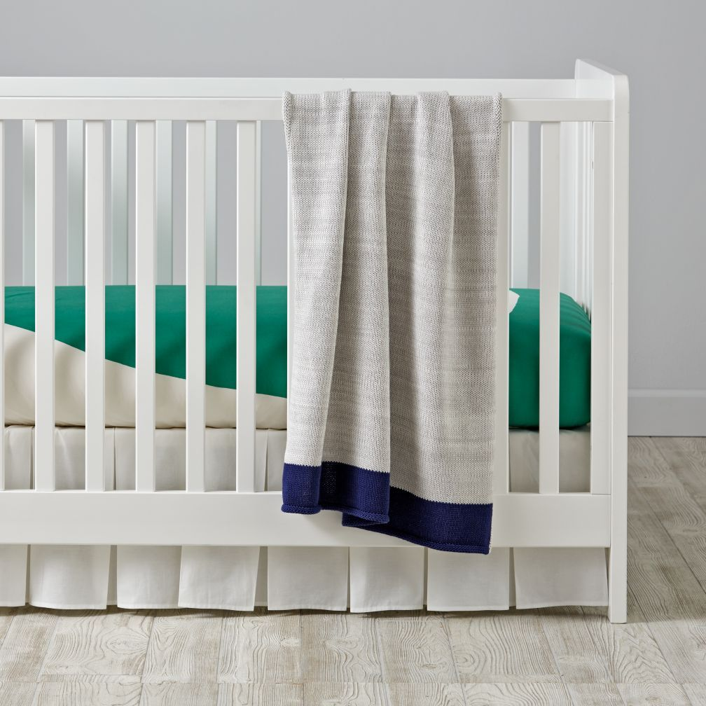Color Pop Crib Bedding (Green) The Land of Nod Blue
