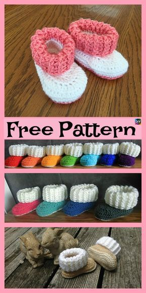 Crochet UGG style Booties - Free Patterns #crochetbabyboots