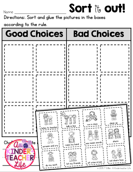 Back to school - good choices and bad choices sort. This sort could be a good segue to explaining your class behavior system.