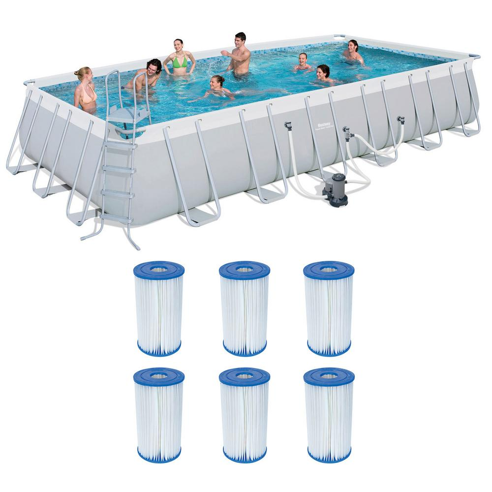 Bestway 24 Ft X 12 Ft Rectangular 52 In D Metal Frame Above Ground Pool And Type Iv B Cartridges 6 Pack 56542e Bw 6 X 58095e Bw The Home Depot In Ground Pools