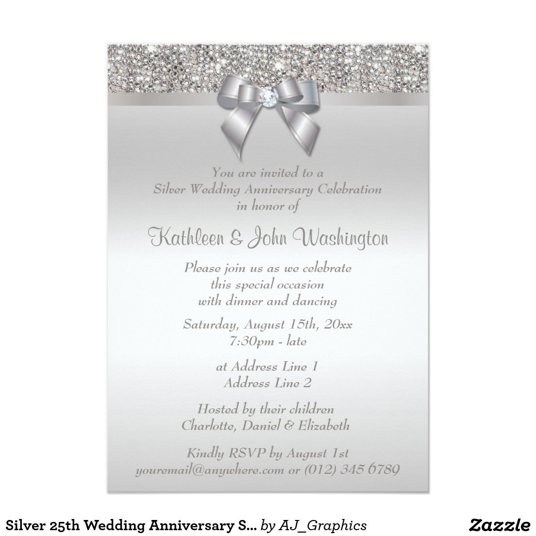 Silver 25th Wedding Anniversary Sequins and Bow Invitation ...
