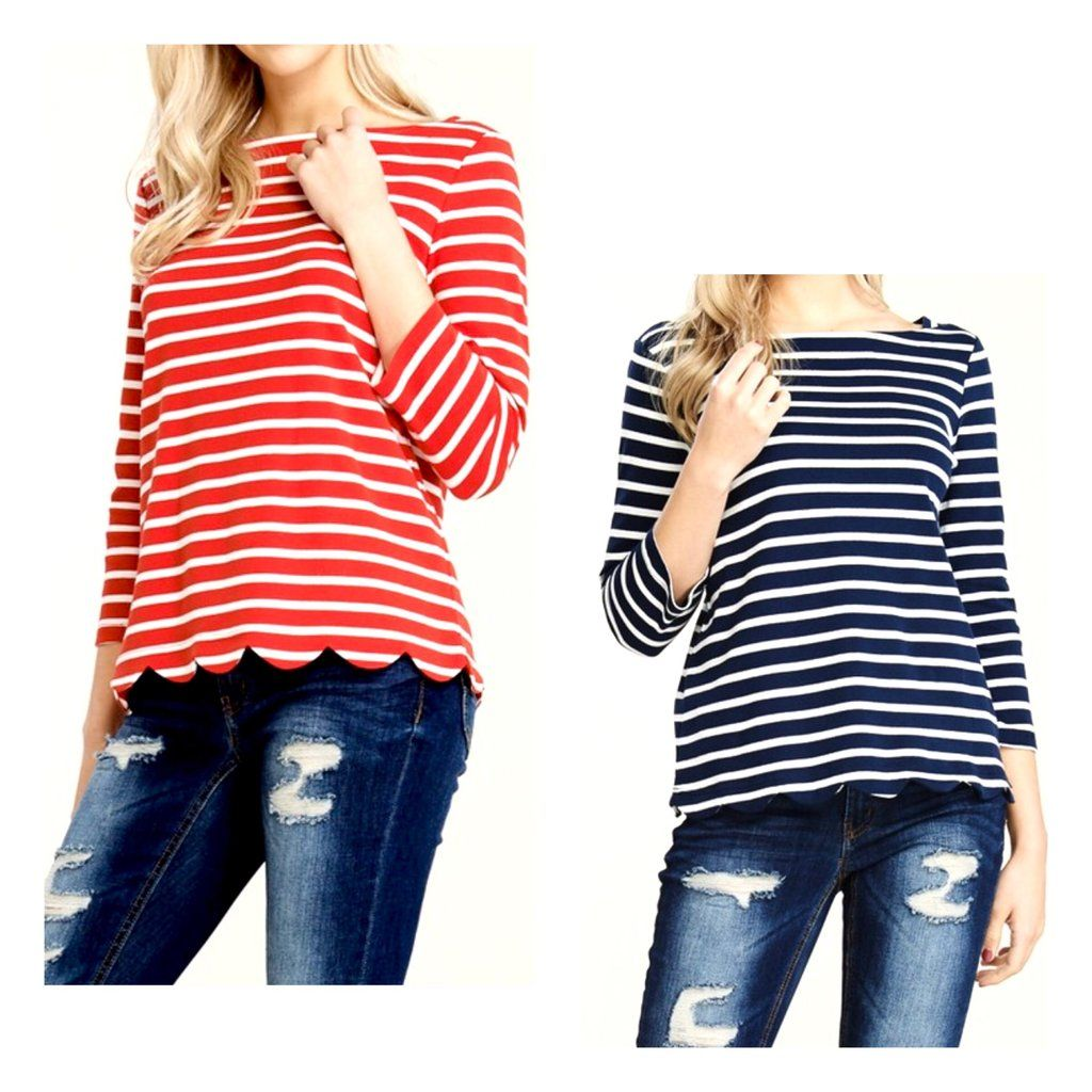 d733b4548cb8b2 Red or Navy Striped Scalloped Hem 3/4 Sleeve Boatneck Top | Tops ...
