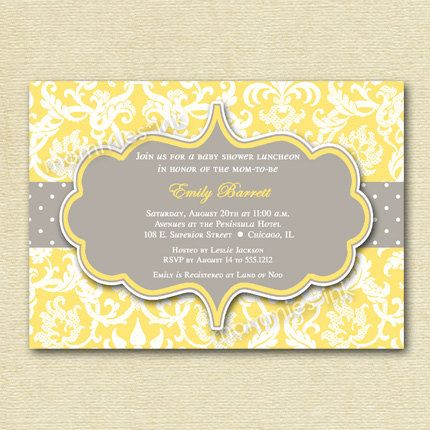 Yellow And Gray Damask Baby Shower Invitation Printable