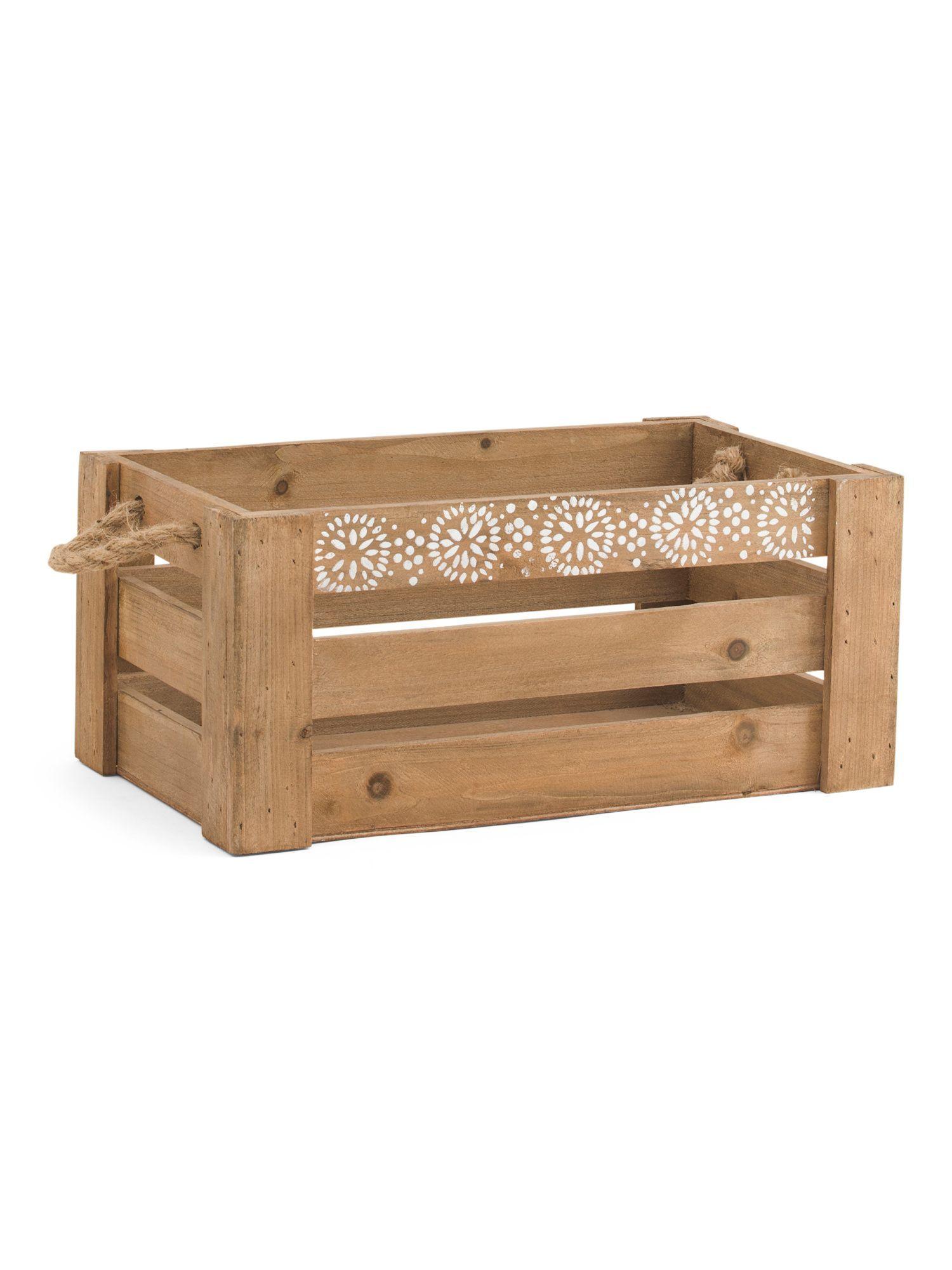 Small Printed Circles Wood Storage Bin Products
