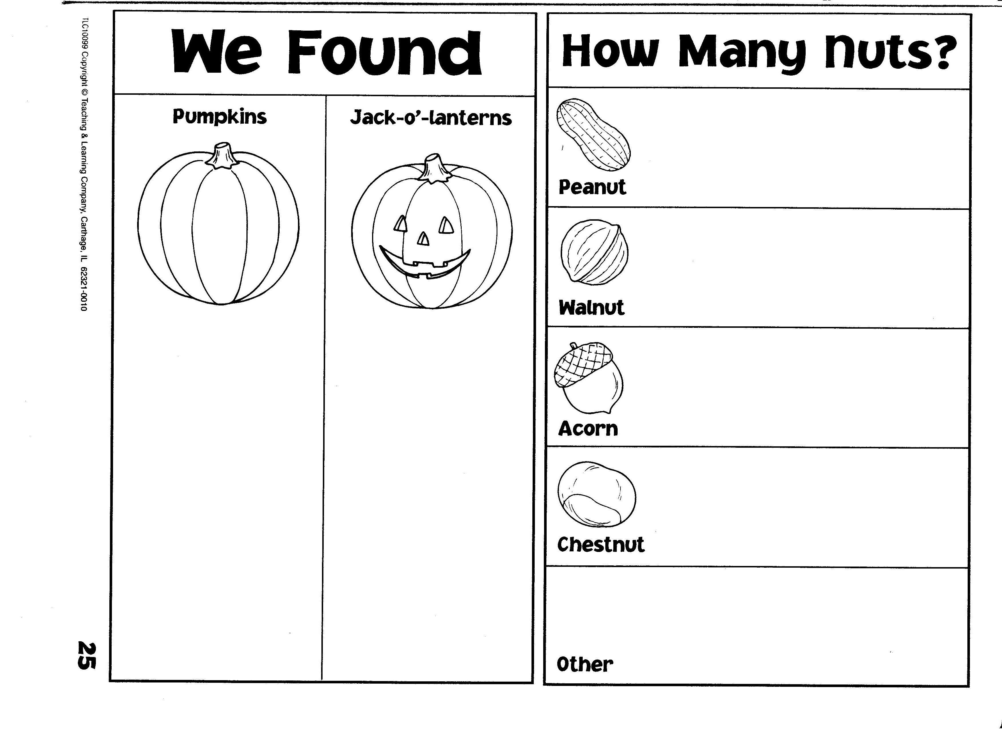 Fall Counting Graphs Pumpkins Jack O Lanterns Nuts