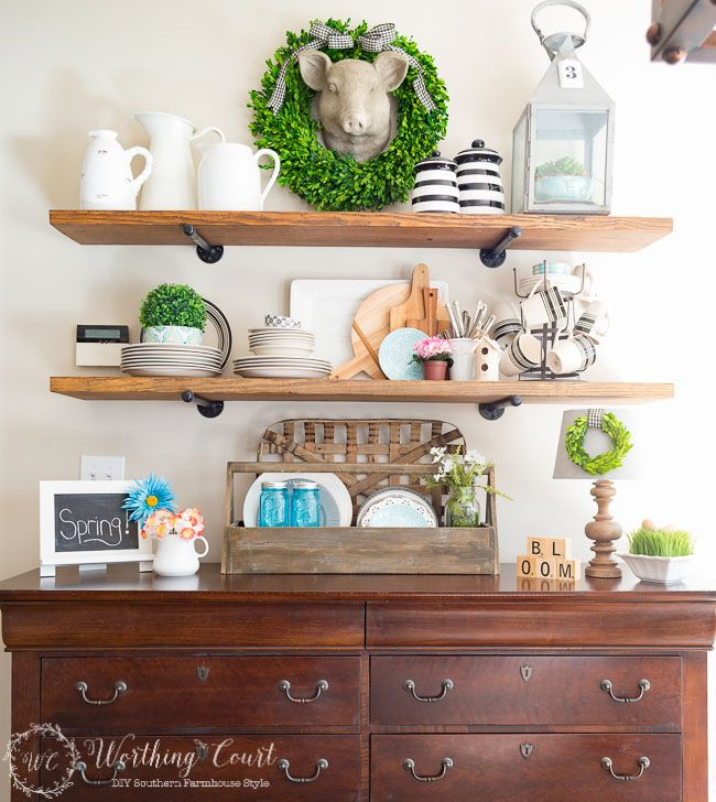 Rustic farmhouse open shelves decorated for spring | Worthing Court Blog