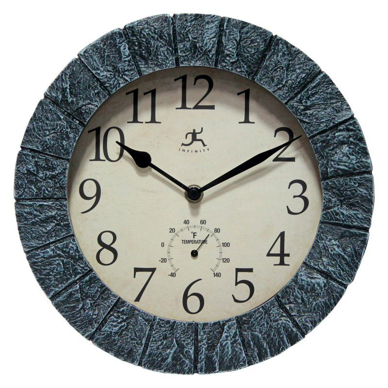 Infinity Instruments 10 5 Diam In Stone Decorative Hanging Wall Clock Outdoor Wall Clocks Wall Clock Clock