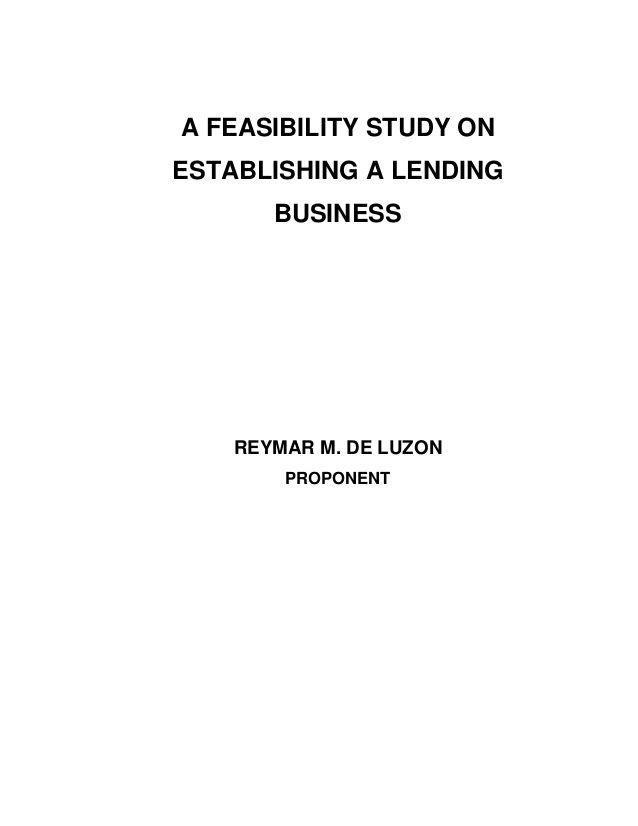 Project Study On Establishing Lending Business  Online