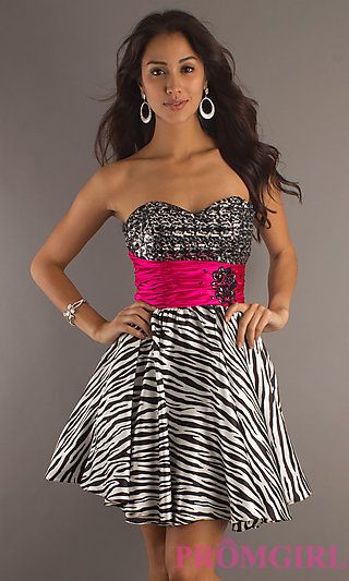 Short Zebra Prom Dresses