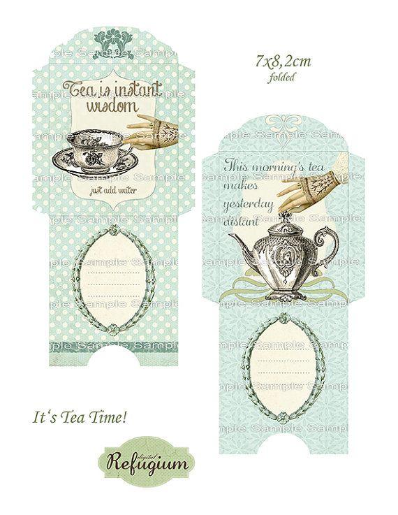 Printable Tea Bag Envelopes INSTANT DOWNLOAD By DigitalRefugium Box Free Printables Holder