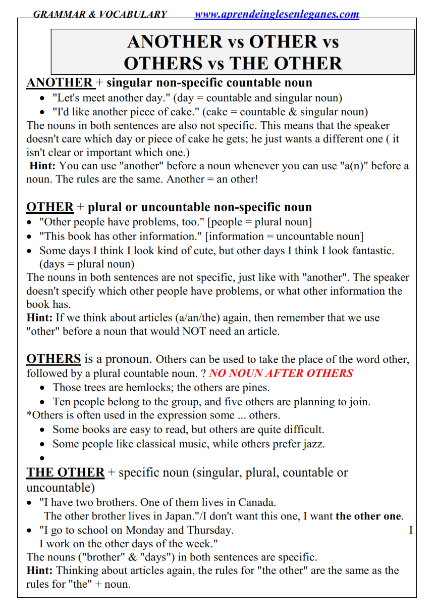 Another vs Other - Exercises FCE CAE CPE Cambridge English Exams ...