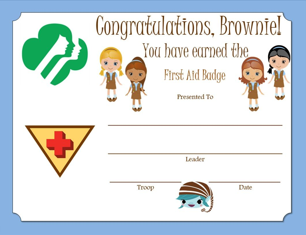 Brownie First Aid Badge Certificate Brownie Girl Scouts