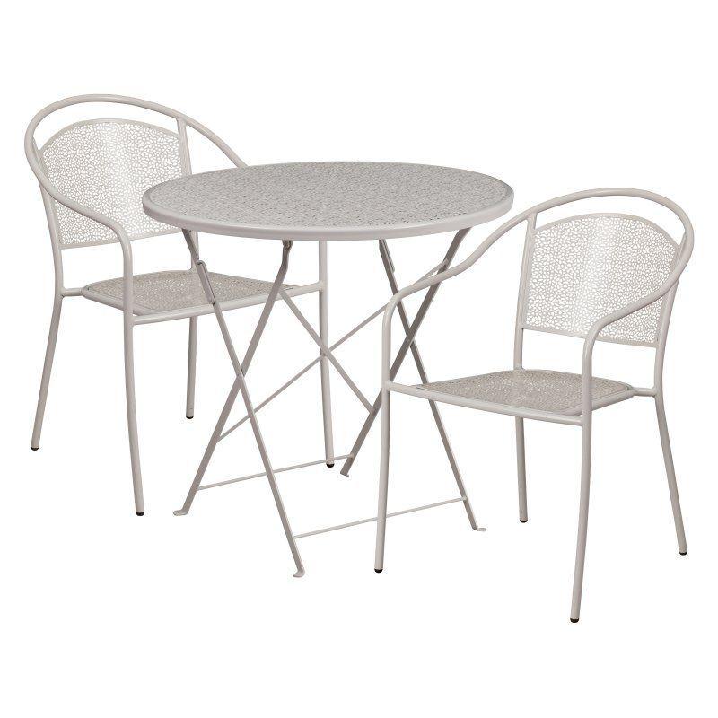 Flash Furniture Steel Round Folding Patio Bistro Set With Round