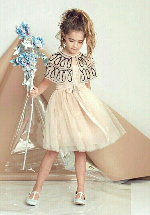 Vestido corto con saco tipo poncho elegante para niña | Vestidos ...