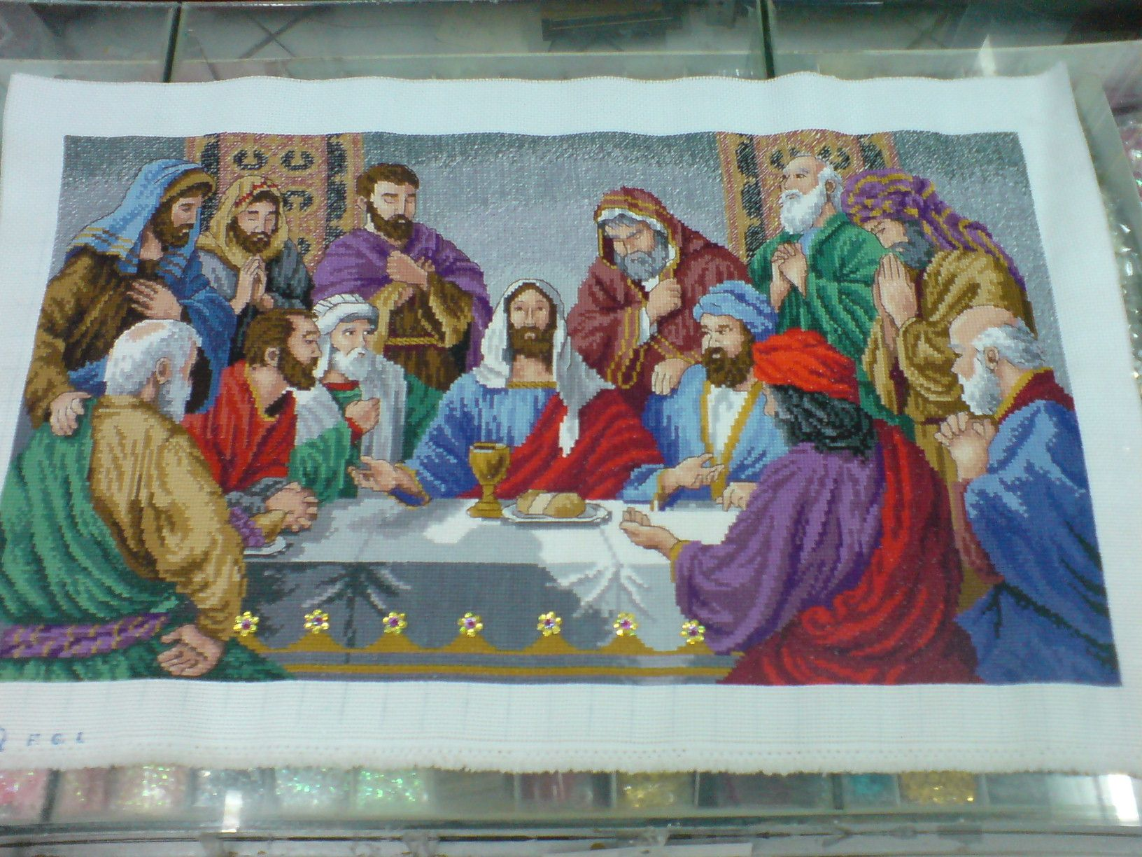 """Cross Stitch title: Last Supper III - Prince of Peace 10 cts; white Aida cloth sequins and beads added 15 1/2"""" x 27 1/2""""  #CrossStitch #Craft #forsale"""