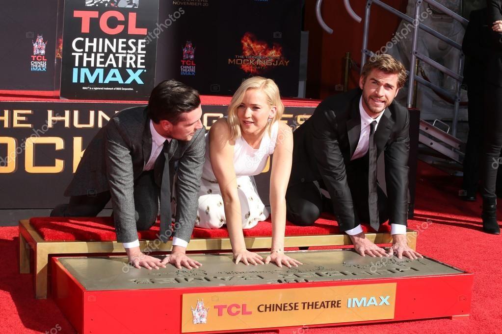 Josh Hutcherson, Jennifer Lawrence, Liam Hemsworth - Stock ...