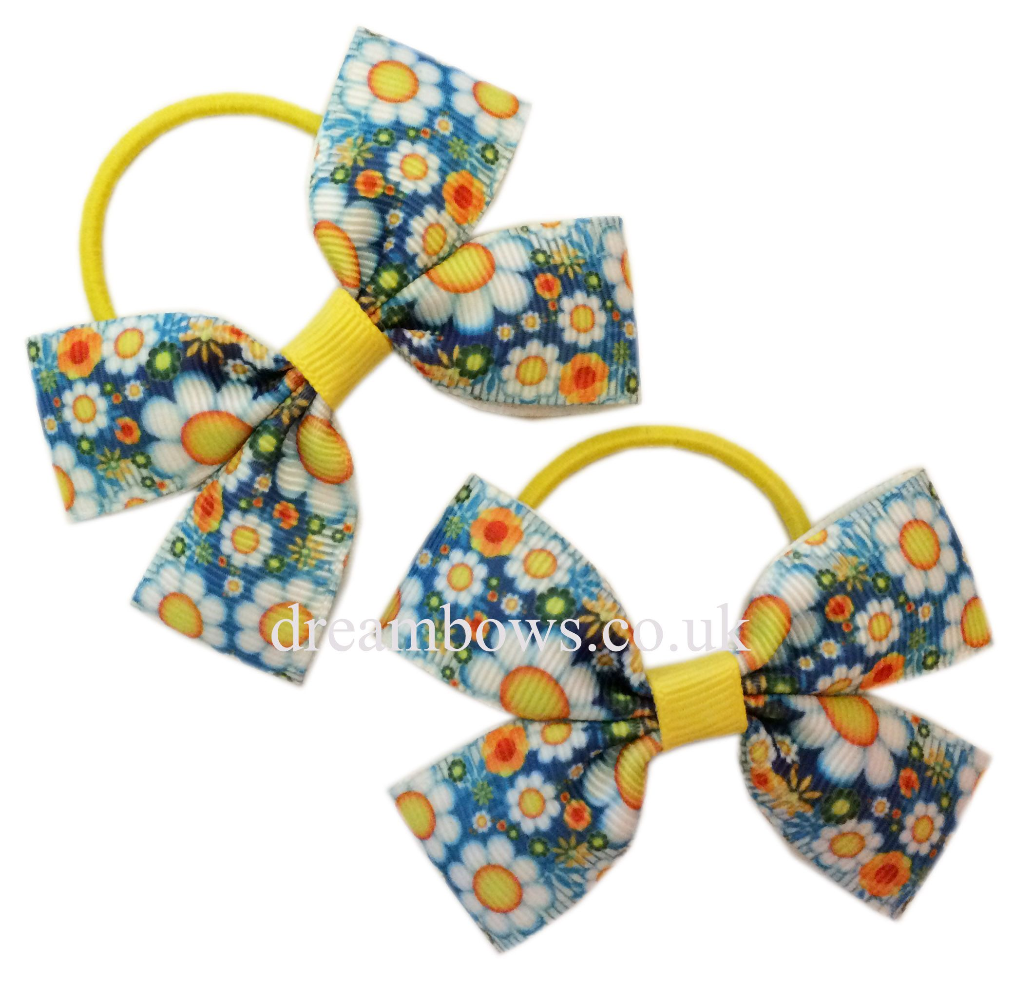 Royal Stewart tartan ribbon hair bows on alligator clips or thin hair elastics