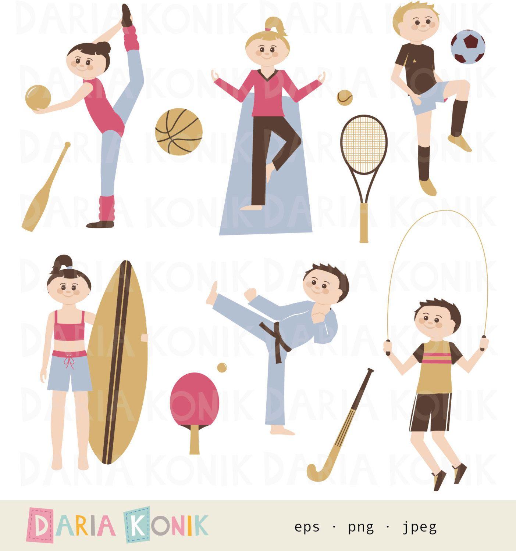 Sports Clip Art SetGymnnastics, yoga, soccer, surfing