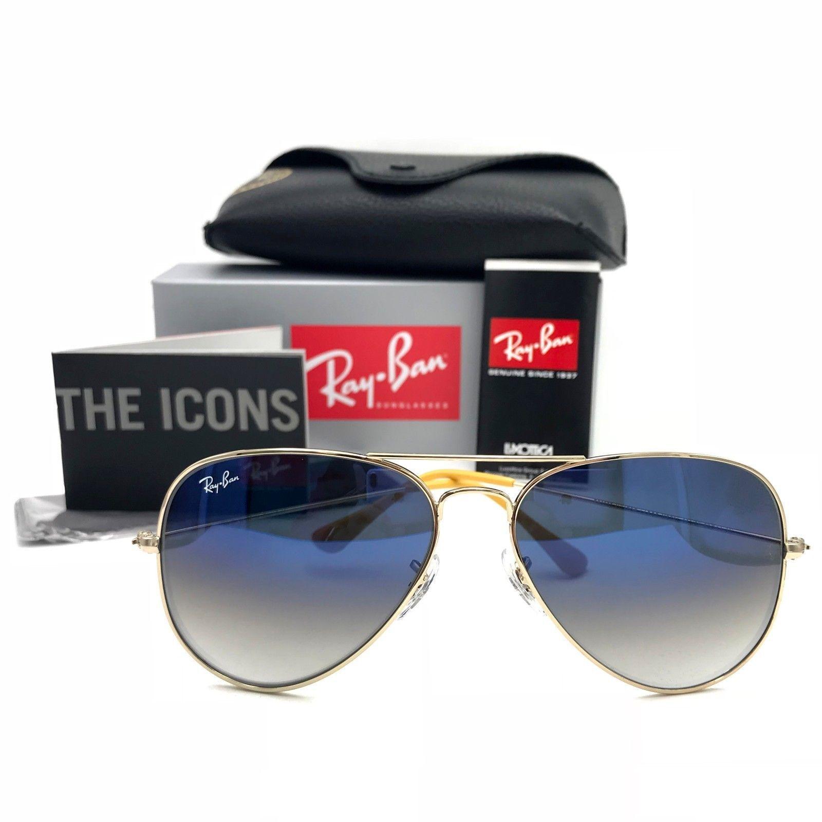 b15e734c55ed New Ray-Ban RB3025 001 3F Gold Aviator Sunglasses w  Gradient Blue Lenses