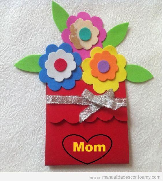 Manualidades goma eva regalar Da de la Madre postal flores Te