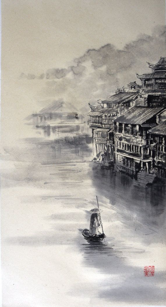Chinese River Sumi E Painting Japanese Ink Painting Zen Painting