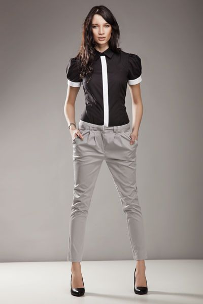 Femme Pantalon carotte Gris 7 8 chic taille Basse SD01 Nife 34 36 38 40 42 02f227a24b4e