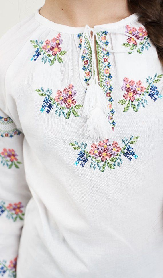 Blank to sew a blouse with a printed pattern Ukrainian design DIY Floral Women/'s shirt bead embroidery kit