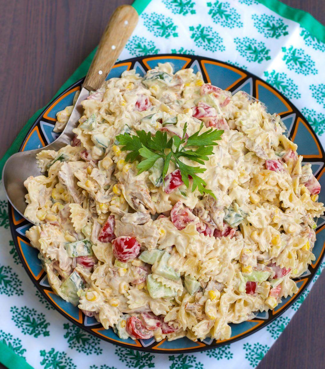 Kramig Pastasallad Med Kyckling Pastasallad Pastasallad Recept Recept Pa Sallad