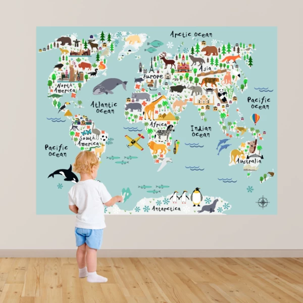 Huge World Map Poster Decal In 2020 World Map Wall Decal Kids