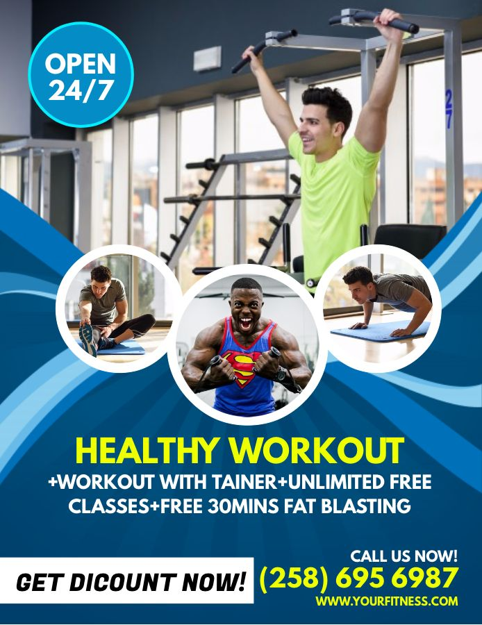 fitness trainer advertisement poster template. | fitness posters, Presentation templates