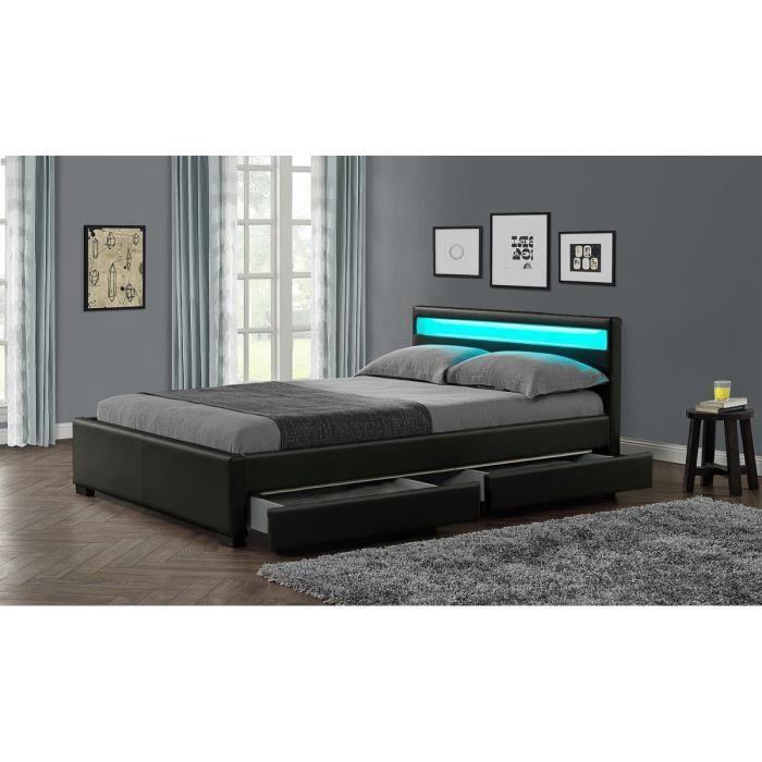 rona lit adulte avec led 140x190 cm - noir