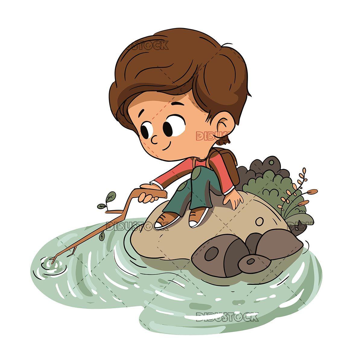 Boy Playing With Water In A River Vector Dibujo De Ninos Jugando Nino Jugando Dibujo Ilustraciones